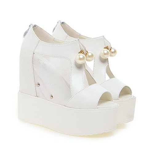 Sandals WeenFashion Women's Solid Toe Zipper Heels White PU Peep High rBqw8r1d