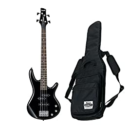 Ibanez GSR Mikro Compact Electric Bass Guitar (Black) w/ Free Ibanez Gig Bag