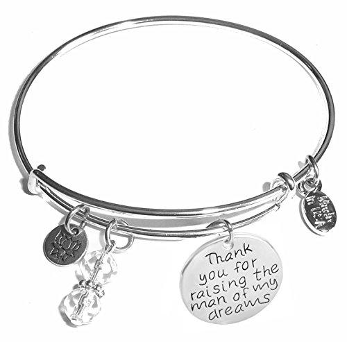 Dreams Box - Message Charm (46 words to choose from) Expandable Wire Bangle Bracelet, in the popular style, COMES IN A GIFT BOX! (Thank you for raising the man of my dreams)
