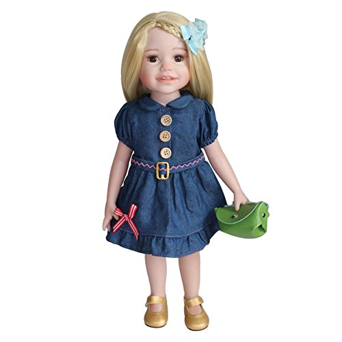 [HappyBB Baby Doll Clothes Accessories Sets Fits 16 inches American Girl Doll - Denim Dress and Bonus] (2pc Child Cheerleader Costumes)