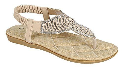 Cambridge Selezionare Donna T-strap Perizoma In Cristallo Strass Glitter Stretch Slingback Flat Sandal Nude