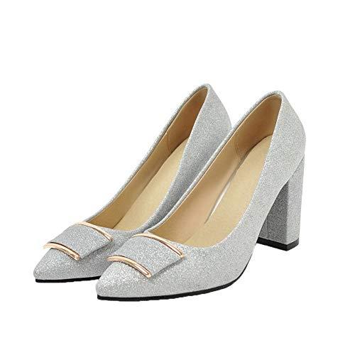 AllhqFashion Donna Tacco Tirare FBUIDD005988 Alto Argento Ballet Puro Flats wwxSPgqB