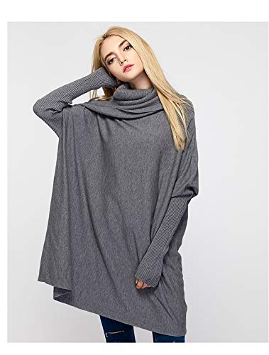 ADLISA Women /'s High Collar Long Sleeve Loose Bat Wing Knitted Sweater Crop Tops Color : Khaki, Size : Onesize