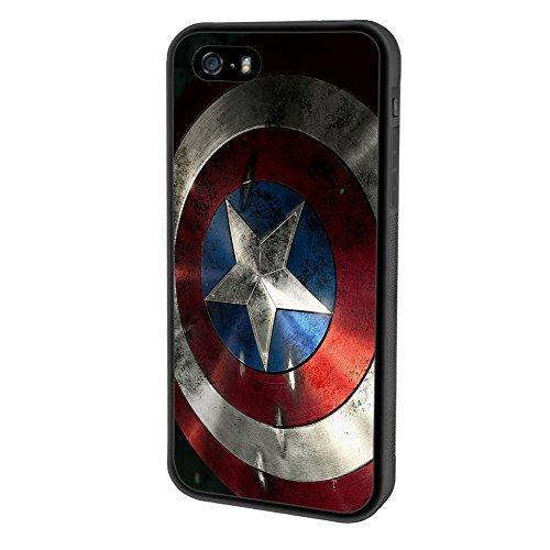 Coque iphone SE Coque case,Marvel Captain America Shield Defensive Coque case Compatible with Apple Coque iphone 5SE / 5S / 5 (noir)