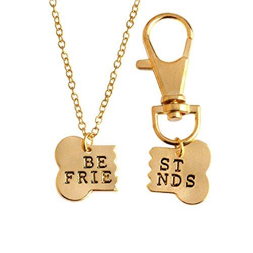 Canghai 2pcs/set Dog Bone Shaped Best Friends Charm Necklace Keychain Dog Lover Gift Golden Black