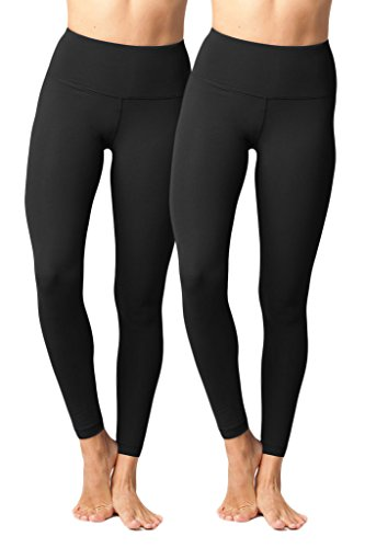 Yogalicious High Waist Ultra Soft Lightweight Leggings -  High Rise Yoga Pants - Black 2 Pack - Small