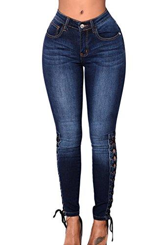Zojuyozio Mujer Casual Vendaje Elástico De Cintura Alta Pantalones Skinny Denim Jeans Azul