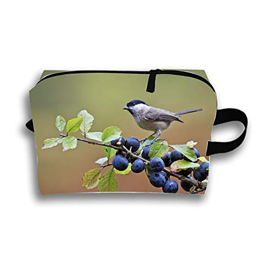 Animal Chickadee Birds Blueberry Passerine Makeup Pouch Travel Trapezoidal Clutch Bag with Zipper