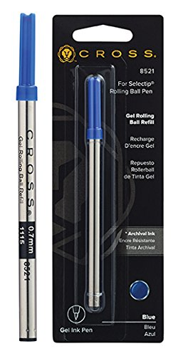 (Cross Selectip Gel Rollingball Pen Refill, Blue, 1 Per Card (8521))