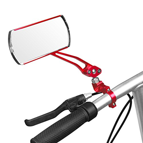 IZTOSS 1 pair Aluminum Bike Mirror Mountain Bicycle Rearview Handlebar End Rear View-red