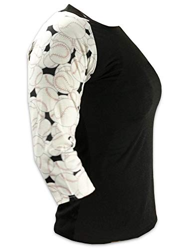 Black Baseball Practice T-shirt - KnitPopShop Baseball 3/4 Length Long Sleeved T Shirt for Mom Fans Apparel Sleeves Gifts Team (Black, Large)