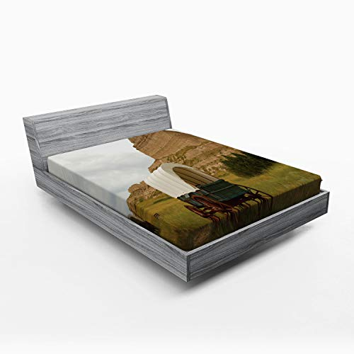 Ambesonne Nebraska Fitted Sheet, Rural Historic Landscape Picture with Vintage Covered Wagon and Rock Formation, Soft Decorative Fabric Bedding All-Round Elastic Pocket, Queen Size, Multicolor