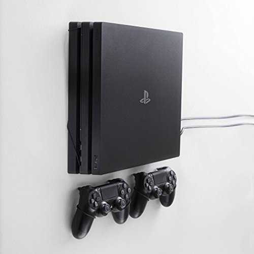 Package Grip (FLOATING GRIP mounts for PS4 Pro, bundle package for PlayStation 4 and controllers, vertical rope wall mounts (black), Patent pending and proprietary design, Made in Denmark)