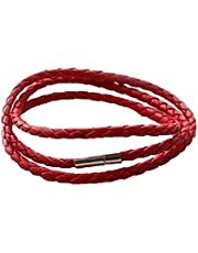 Bracelets for men braided leather and minerals color Red Item No 490 - 2