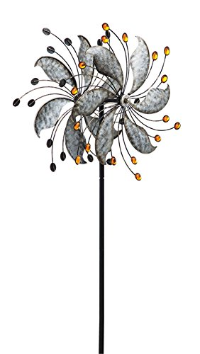 Reflective Leave Kinetic Garden Stake