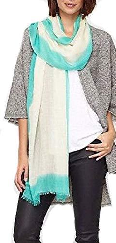 Eileen Fisher Neon Border Silk Wool SEA BREEZE Scarf 80