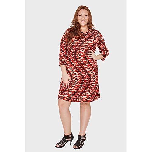 Vestido Abstrato Faixa Plus Size Vermelho-48