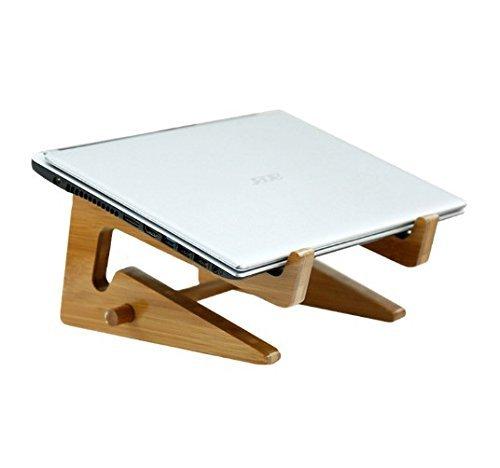Portable Detachable Laptop Vertical Holder, Heat Sink Folding Wooden Desktop Stand for Macbook Air or Pro