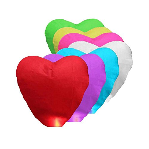 10 Pcs Eco-Friendly Sky Lanterns, Heart Shaped Chinese Traditional Flying Sky Lanterns Wishing Lamp for Christmas, New Year, Chinese New Year, New Years Eve, Weddings & Parties (send randomly) ()