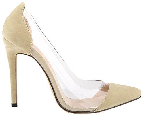 Harshiono Womens Sandalo In Camoscio Trasparente Slip On Stiletto Dress Pumps Shoes (albicocca)