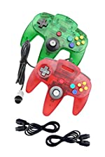 NINTENDO 64 GREEN AND RED CONTROLLER WITH TWO 6 FEET EXTENTION FOR N64 SYSTEM - Mario Retro Brand - Generic
