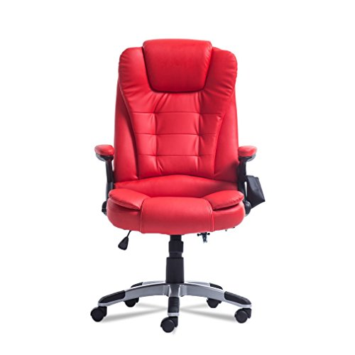 Homgrace Swivel Gaming Massage Chair Ergonomic PU Leather Executive Office Chair Vibrating 6 Point Wireless Massage Chair.Without HEATING Function (Red) (Ergonomic Massage Chair)