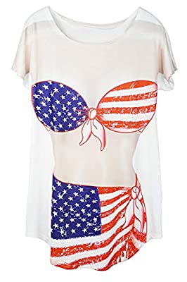 Bellady Lady's Fun Wear Hot Pink Bikini Print Cover up T-Shirt