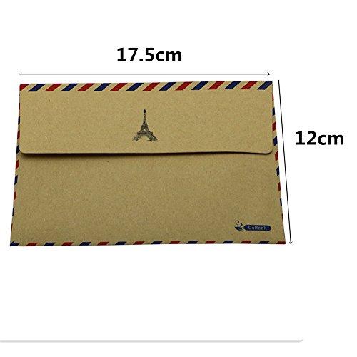 Hybsk (TM) 10 pz. Hojas Sobre Tarjeta postal Papelería Papel de almacenamiento AirMail Vintage (Tan)