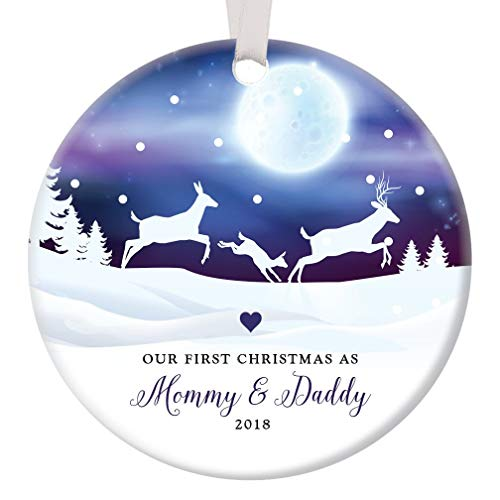 First Christmas Mommy & Daddy 2018 Ornament 1st New Parents Ceramic Keepsake Newborn Son Daughter Pretty Deer Family Winter Scene Infant Boy Girl 3 Flat Porcelain w White Ribbon Free Gift Box OR00040