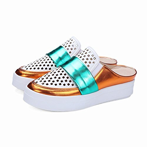 Carolbar Mujeres Assorted Colors Fashion Pierced Casual Platform Zapatos Zapatillas Blancas