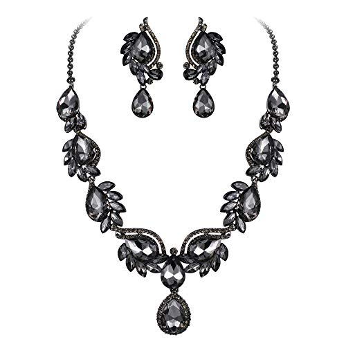 Flyonce Women's Crystal Wedding Floral Leaf Teardrop Necklace Clip On Earrings Set Grey Black-Tone