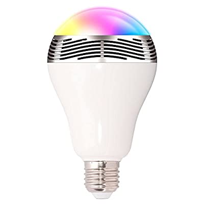 Bluetooth Smart LED Light Bulb, Baihe Wireless Dimmable LED Colorful Lamp, Party Audio Music Speaker Night Light Bulbs for Bedroom Living Room, Color Changing, Smart Phone Tablet Control (6W)