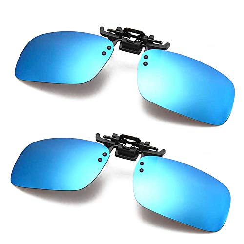 Polarized Clip-on Sunglasses Anti-Glare Driving Glasses for Prescription Glasses (Blue x 2) (Fish 2 Blue Eye)