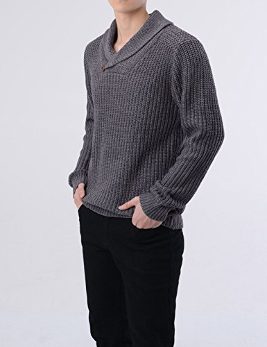 NEARKIN (NKNKKN701) Mens Ribbed Wool Blend Pullover Shawl Collar Knitted Sweaters CHARCOAL US XXXL(Tag size 3XL)
