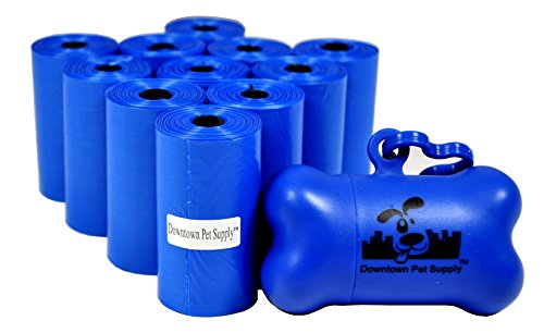 220 Pet Waste Bags Dog Waste Bags Bulk Poop Bags on a roll Clean up poop bag refills - (Color Blue)  FREE Bone Dispenser by Downtown Pet Supply