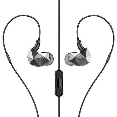 Sound Intone E6 Pro In-ear Headphones Sweatproof Sports Running Earbuds Noise Isolating Earphones with In-line Mic and Remote Control for Cellphones PC MP3 etc (black)