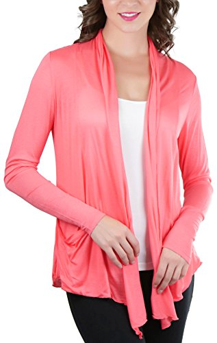 ToBeInStyle Women's Long Sleeve Flyway Cardigan - S.Coral - Large (Jackets Rose Taupe)