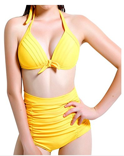 Spring Fever Women's High Waist Sexy Halter Polka Dots Diving Suit Yellow S (US:2-4)