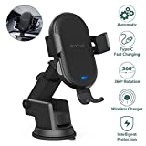 Wireless Car Charger Mount, 10W Fast Charging Auto Clamping 360º Windshield Dashboard & Air Vent Phone Holder, Car Charger Holder for iPhone 11 Pro Max XR Xs Max X 8 Plus, Samsung Galaxy Note 9 S9 S9+ S8 and more