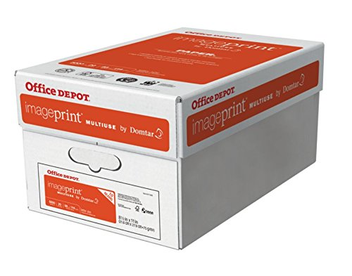 Office Depot ImagePrint FSC Certified Multiuse Paper by Domtar, 8 1/2in x 11in, 20 Lb, White, 500 Sheets Per Ream, Case Of 10 Reams, 1821