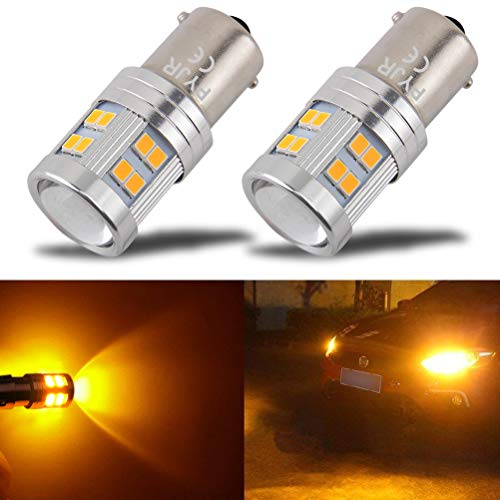 1156 1156a Ba15s 1141 Amber Yellow LED Bulb, AC/DC 10-30V 6w, 600 Lumens Super Bright, for Car RV Interior, Turn Signal, Blinker, Side Marker Lights Bulbs (Pack of 2)