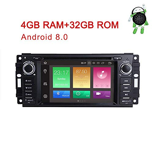 (MCWAUTO for Dodge Ram Challenger Jeep Wrangler JK 6.2 Inch Android 8.0 Multi Touch Screen Car Stereo Radio DVD Player GPS Canbus Screen Mirroring Function OBD2 Octa-Core 64Bit 4G RAM 32GB ROM)