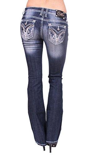 Floral Print Rhinestone (Cello Jeans Women Faded Boot Cut Jeans with Floral Print and Rhinestones 13 Dark Denim)