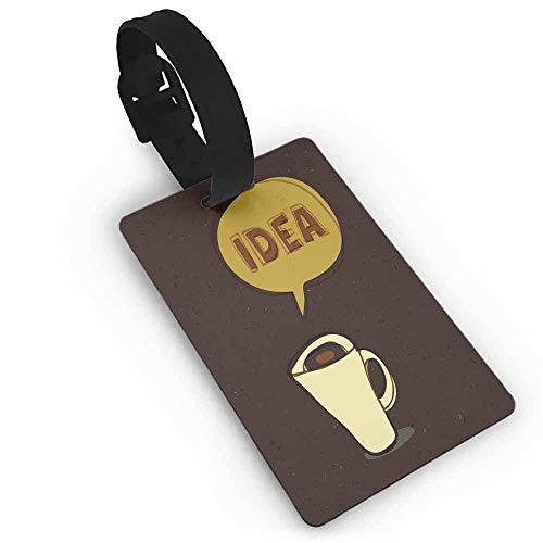 Creative Imaginations Cream - Creative Baggage Coffee,Cup of Idea Concept Brew of Creativity and Imagination Sketch Art,Dark Brown Mustard Cream One Size Tag Portable Women