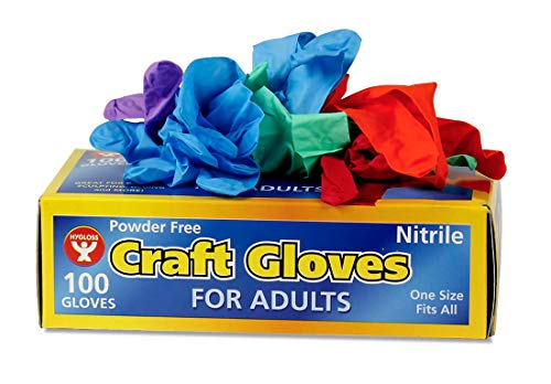 - Hygloss Products 98200 Adults, 100 Pcs Nitrile Latex-Free Craft Gloves,