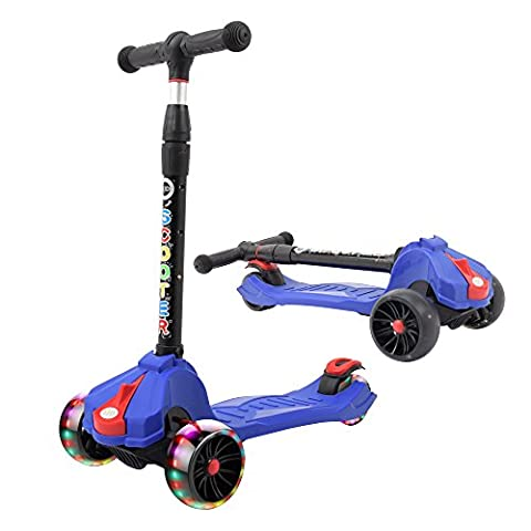 XJD Kick Scooters for 3 to 8 Years Kids, Super-Tough and Multi-colored Deck, Adjustable and Folding Handlebar, LED Light Up Widen Wheels, Free Assembly 2017 New Designs - Folding Bike Helmet