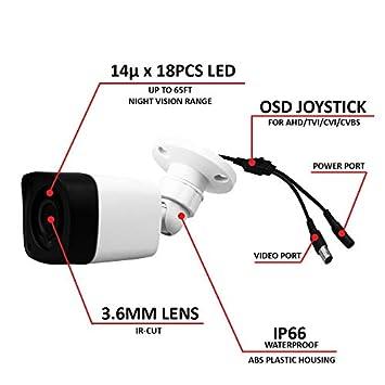 LongPlus HD-TVI 1080P 2MP 4-in-1 CCTV Home Surveillance IP66 Weatherproof IR Cut Bullet Security Camera, White LPHDC2MBP