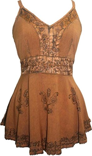 - Agan Traders 121 B Medieval Vintage Top Blouse (Rust Copper, S)