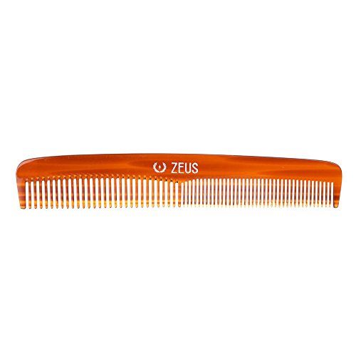 "Zeus Handmade Saw-Cut Beard Comb – 6"" x 1"" – Premium, Static-Free Comb for Beards and Mustaches with Medium and Fine Tooth Sides"