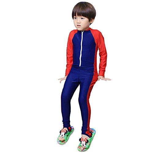 MAIBU Kids UPF 50+ Sunsuit Long Sleeve Swimwear One-piece Bodysuit Swimsuit Age 3-9years Navy 3XL